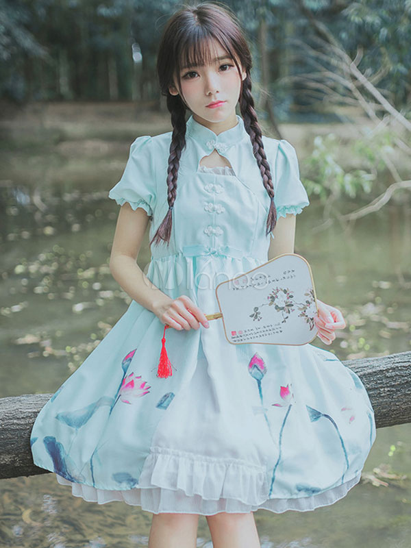 Buy Baby Blue Lolita Dress OP Chiffon Chinese Style Stand Collar Short Sleeve Lotus Printed One Piece Lolita Dress for $36.89 in Milanoo store