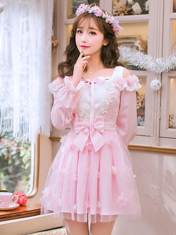 Vestido de Lolita Fiesta del té con escote cuadrado con manga larga ...