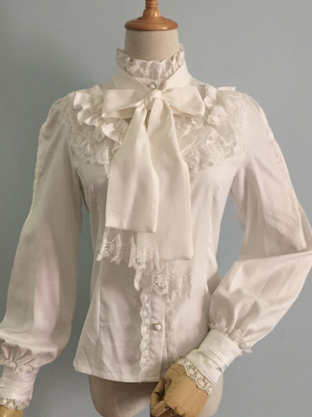 Sweet Lolita Blouses White Long Sleeve Chiffon Frill Collar Lace Ruffles Lolita Shirts