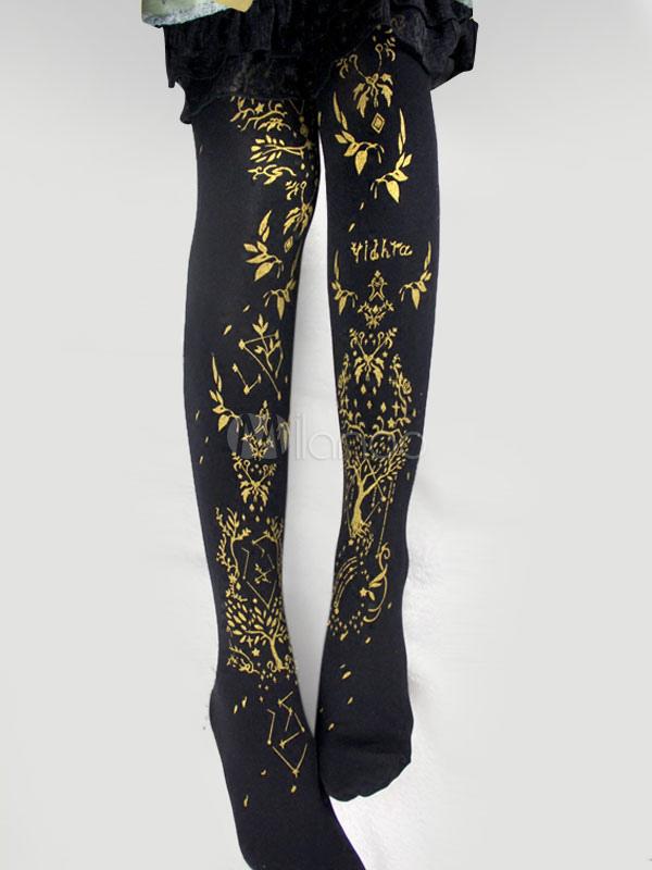 Buy Gothic Lolita Stockings Black Printed Knee High Lolita Socks for $24.64 in Milanoo store