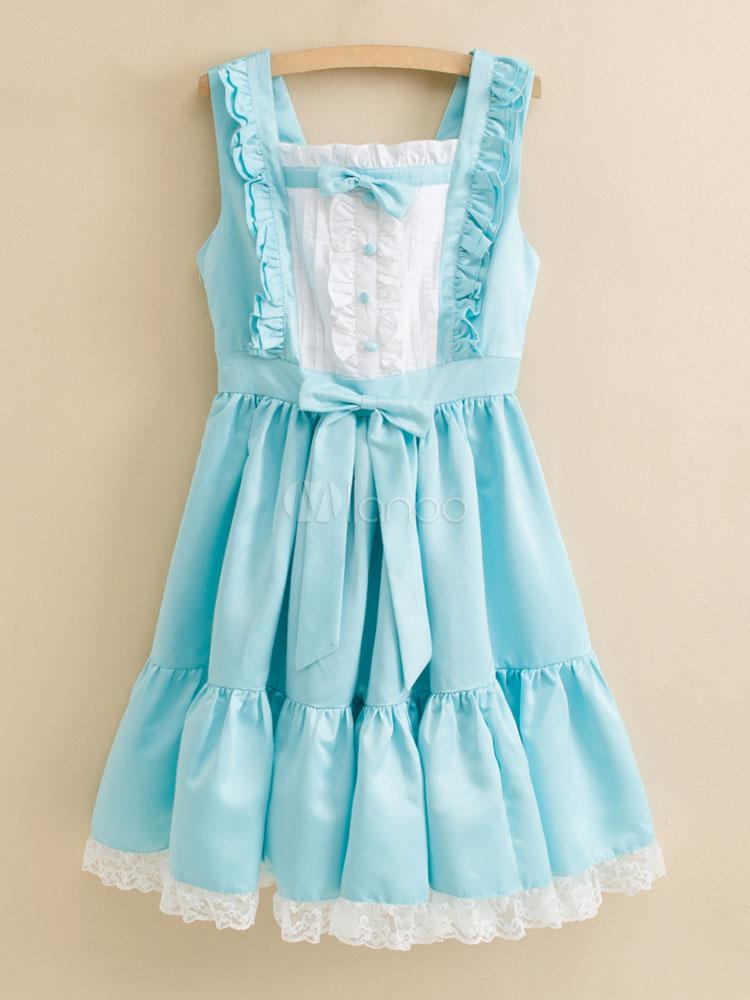 Buy Sweet Lolita Dress JSK Satin Aqua Sleeveless Lolita Jumper Skirt for $67.99 in Milanoo store