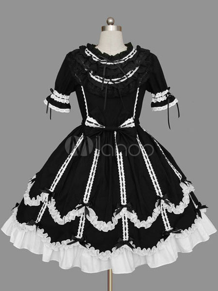 Buy Sweet Lolita Dress OP Black Short Sleeve Cotton Lolita One Piece Dress for $71.99 in Milanoo store