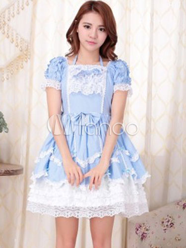Buy Sweet Lolita Dress OP Aqua Square Neck Short Sleeve Cotton Lolita One Piece Dress for $64.79 in Milanoo store