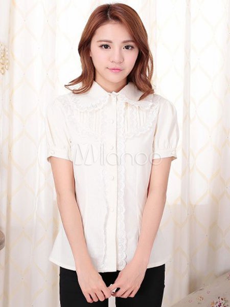 Buy Sweet Lolita Blouses White Short Sleeve Lace Ruffles Lolita Shirts for $43.99 in Milanoo store