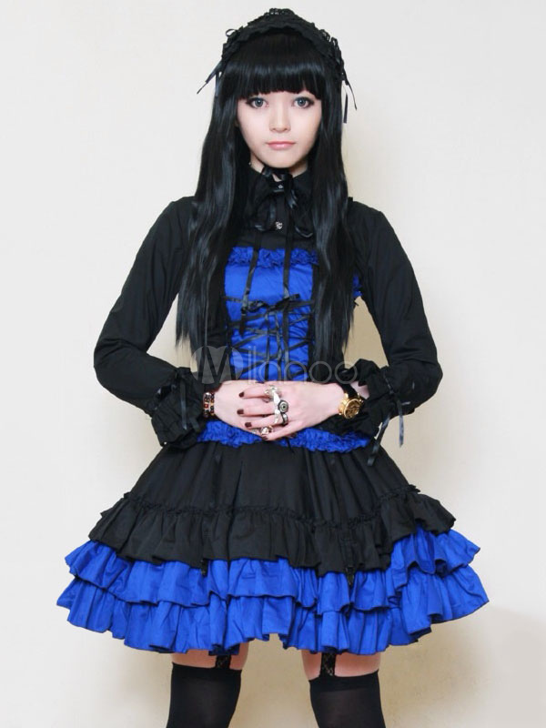 Buy Gothic Lolita Dress OP Royal Blue Turndown Collar Long Sleeve Lolita One Piece Dress With Cummerbund for $64.79 in Milanoo store