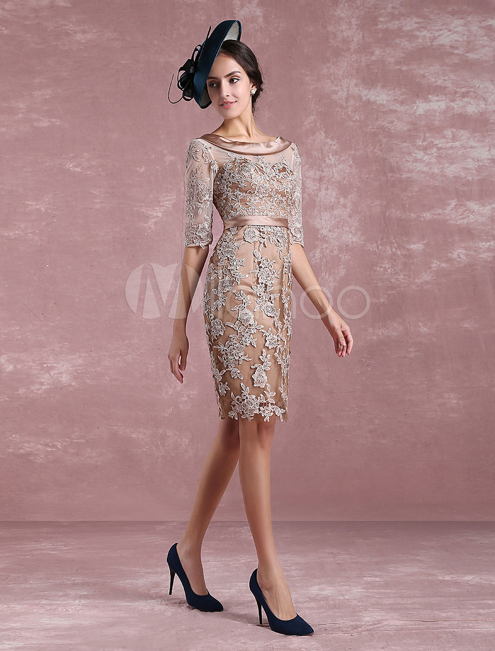 Short Mother's Dress Taupe Lace Applique Bodycon Cocktail Dress Illusion Half Sleeve Satin Sash Knee Length Wedding Guest Dresses Milanoo