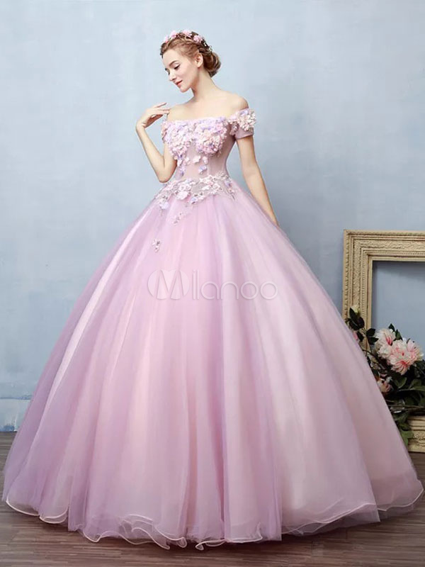645aaac78b9 Fuchsia Pink Quinceanera Dress Off The Shoulder Tulle Pageant Dress Beading  Flower Applique Short Sleeve Floor ...
