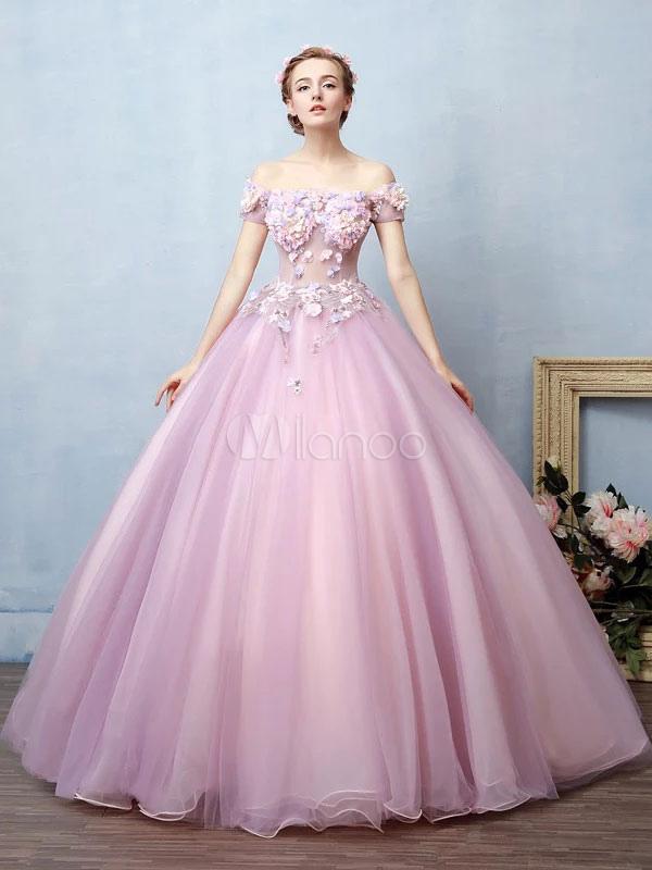 Vestido para quinceañeras Rosa púrpura con escote de hombros caídos ...