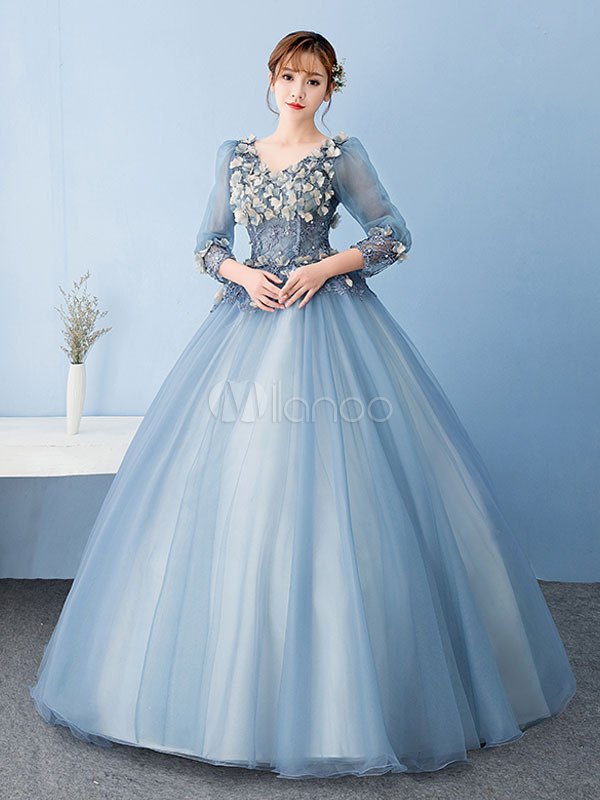 Ink Blue Quinceanera Dress Tulle Princess Pageant Dress Flower Pearl Lace V Neck Three Quarter Sleeve Floor Length Prom Dress