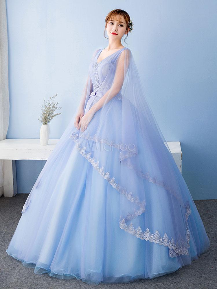 b41b77b6a78 ... Vestido para quinceañeras azul con cuello en V sin mangas con  aplicación -No.3 ...