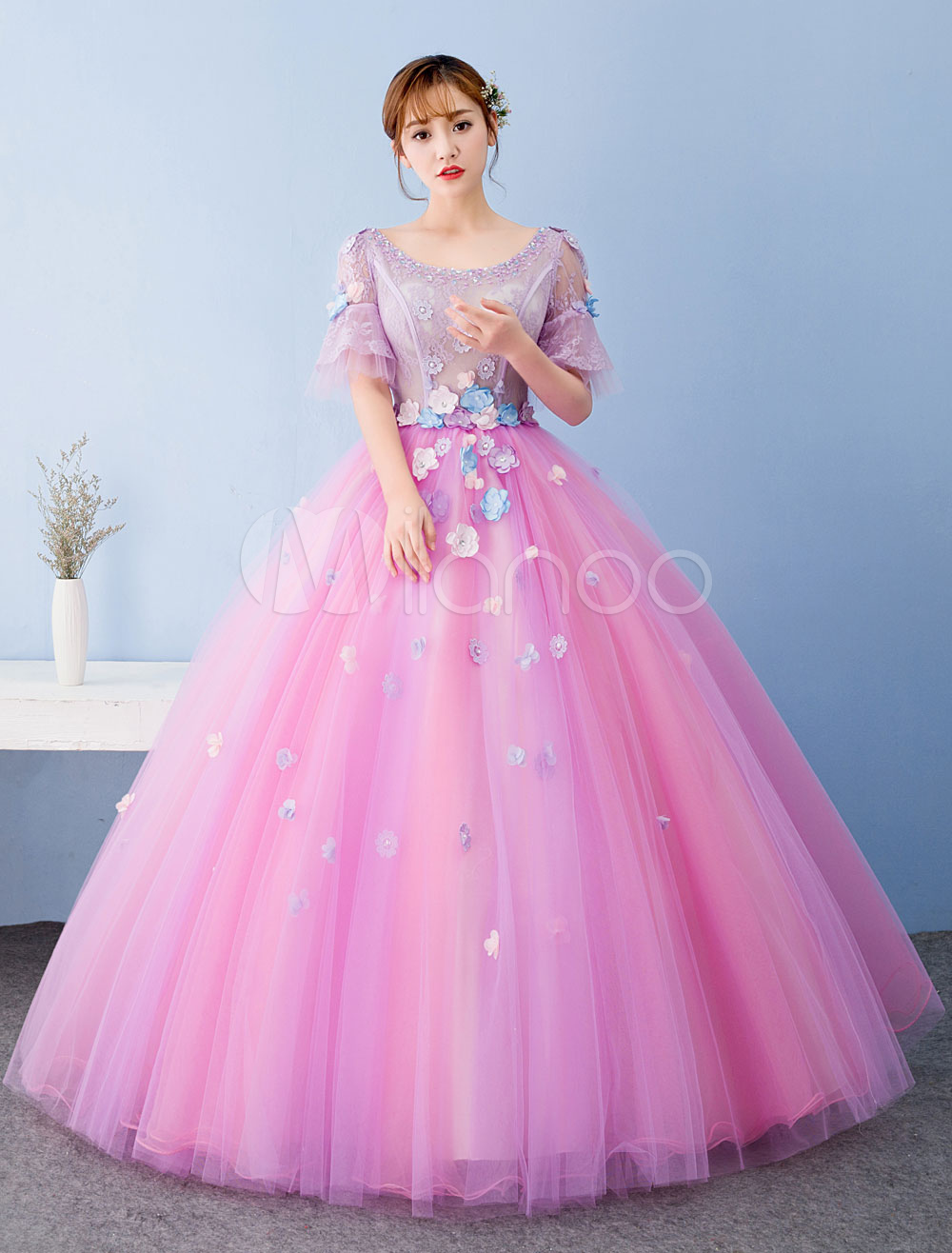 Fuchsia Pink Quinceanera Dress Ball Gown Tulle Pageant Dress Keyhole Back Lace Beading Flower Short Sleeve Floor Length Prom Dress