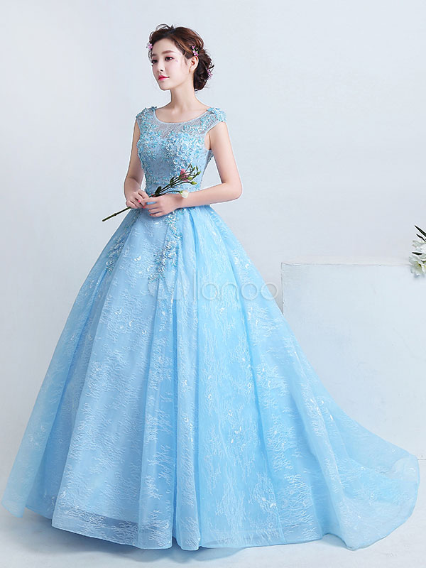 Lace Quinceanera Dress Aqua Ball Gown Pageant Dress Beading Lace Flower Jewel Neckline Cinderella Prom Dress With Train