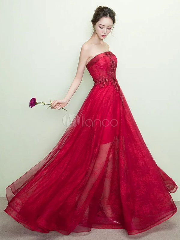 Buy Burgundy Prom Dress Lace Applique Strapless Party Dress Tulle Boned Illusion Floor Length Occasion Dress for $109.99 in Milanoo store