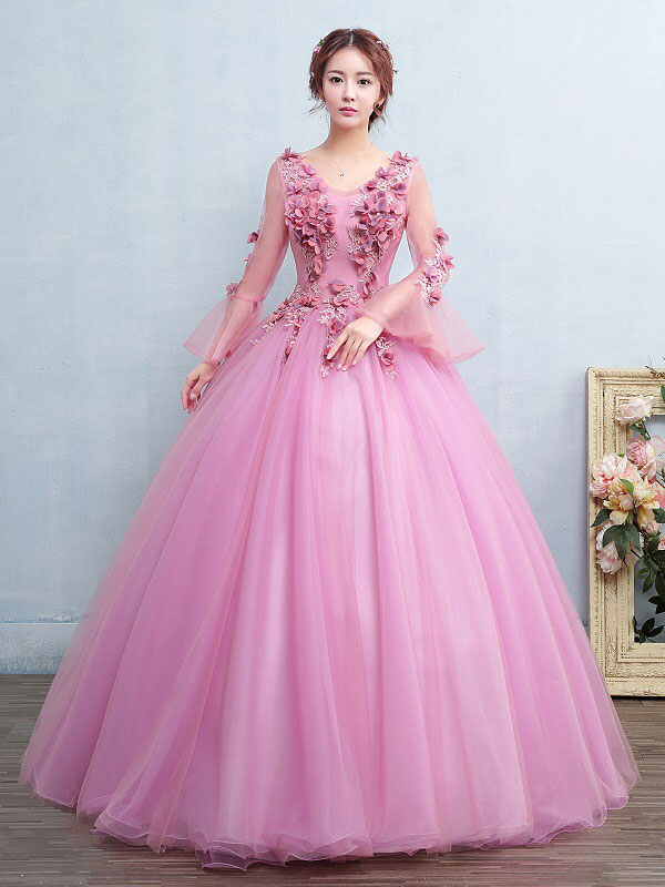 nuovo concetto f8953 114a5 Vestito festa 18 anni rosa Fucsia gonna da pricipessa con scollo a V fiore  a terra