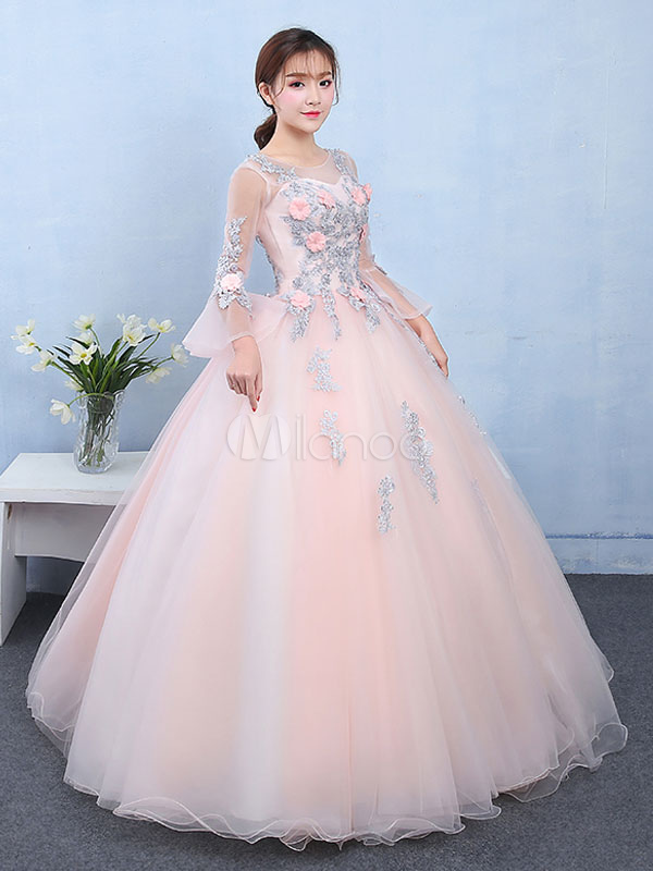 Peach Quinceanera Dress Tulle Princess Pageant Dress