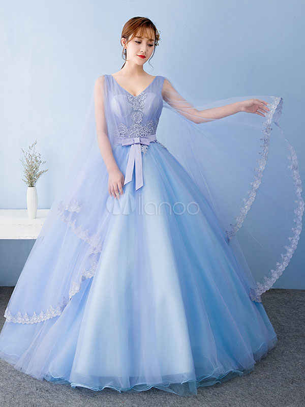 Blue Quinceanera Dress Tulle Princess Pageant Dress Beading Applique Bow V Neck Floor Length Prom Dress With Side Draping
