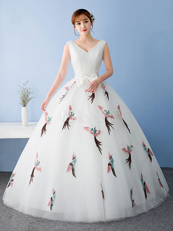 06115e7165d White Quinceanera Dress Tulle Pageant Dress Applique Lace Beading V Neck  Bow Princess Floor Length Prom ...