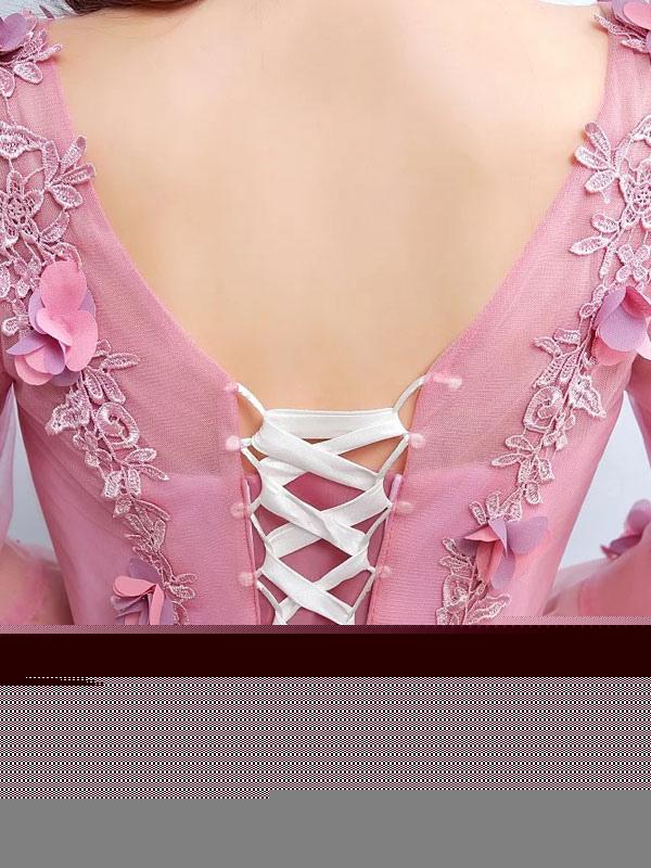 d39a9c890 ... Vestido para quinceañeras Rosa púrpura con cuello en V con manga larga  con aplicación -No ...