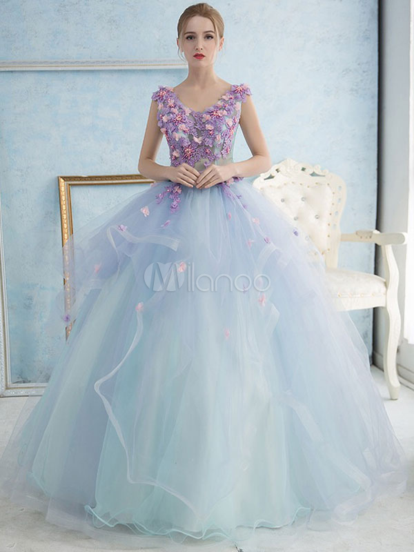 Pastel Blue Quinceanera Dress Tulle Princess Pageant Dress Pearl Flower Sash V Neck Floor Length Prom Dress
