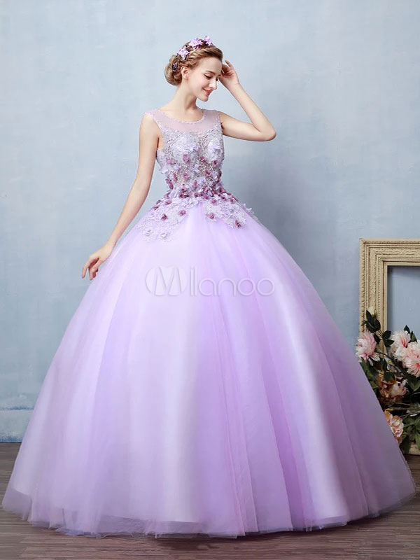Lilac Quinceanera Dress Tulle Ball Gown Pageant Dress Flower Pearl Floor Length Prom Dress