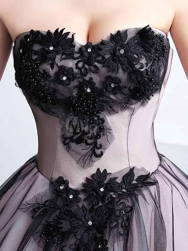 07ab2e072 ... Vestido para quinceañeras negro con escote en corazón sin mangas con  cuentas -No.7 ...
