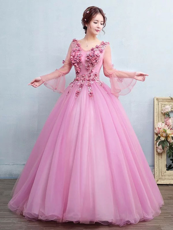 Ball Gown Quinceanera Dress Fuchsia Pink Tulle Pageant