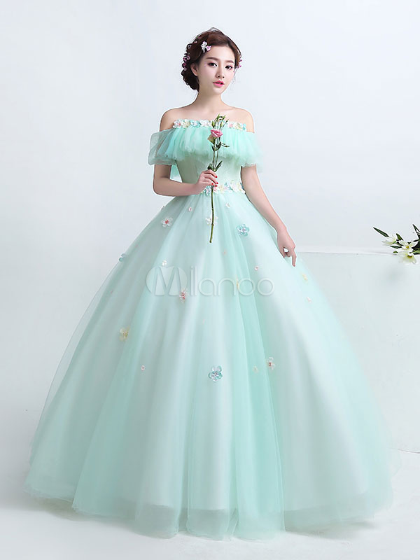 Mint Green Quinceanera Dress Off The Shoulder  Tulle Princess Pageant Dress Flower Lace Floor Length Prom Dress