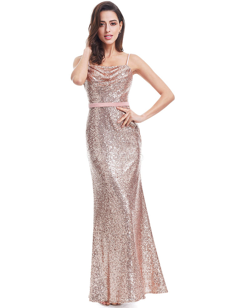 Buy Rose Gold Prom Dresses 2018 Long Nude Mermaid Backless Evening Dress Sequin Sleeveless Cowl Neckline Sash Floor Length Occasion Slip Dress for $158.39 in Milanoo store