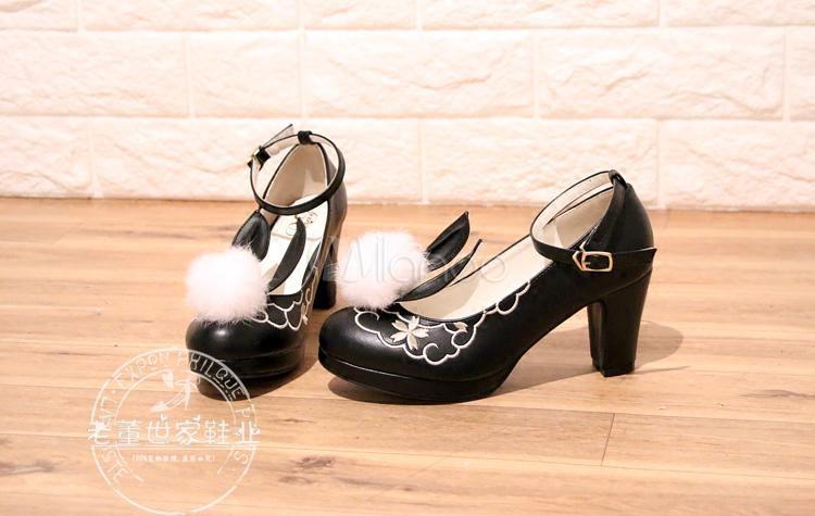 Zapatos de lolita de PU de puntera redonda Conejo para ocasión informal ehxTWllh