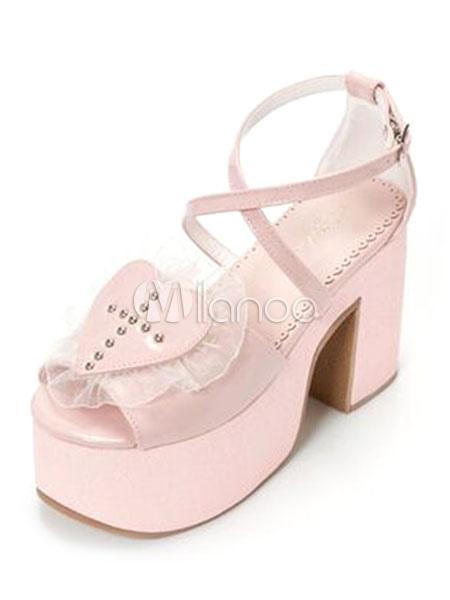 Buy Pink Lolita Sandals Sweet Heart Open Toe Cross Front Platform Heeled Lolita Shoes for $33.14 in Milanoo store