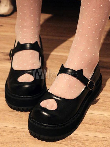 Buy Black Lolita Shoes Flatform Heart Cut Out Lolita Pumps for $43.19 in Milanoo store