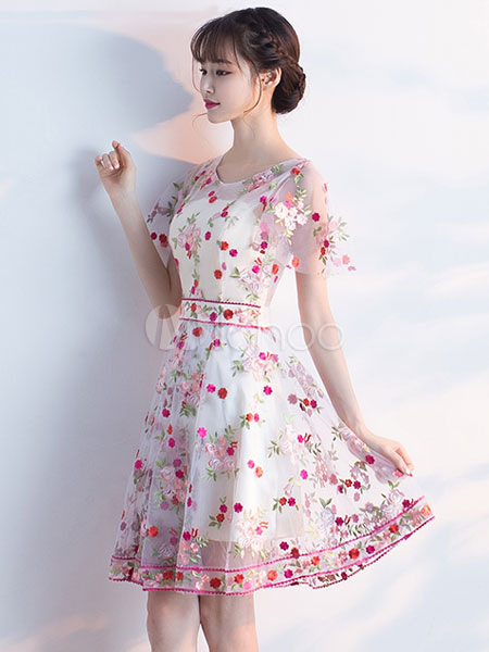 Buy Pink Prom Dress Illusion Floral Embroidered Homecoming Dress Jewel Short Sleeve A Line Knee Length Cocktail Dress for $127.59 in Milanoo store