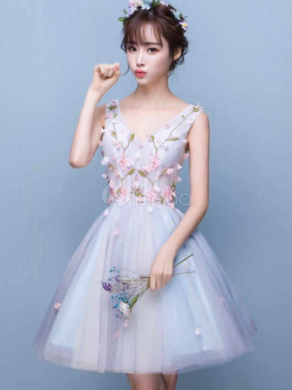 Tulle Prom Dress Baby Blue Short Homecoming Dress V Neck