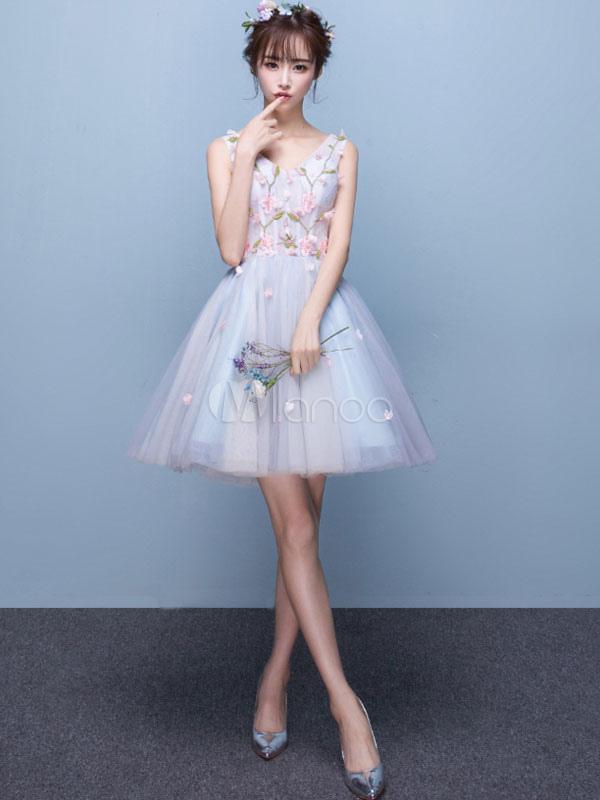 d8d1a8029ac Tulle Prom Dress Baby Blue Short Homecoming Dress V Neck Sleeveless 3D  Flowers Graduation Dress- ...