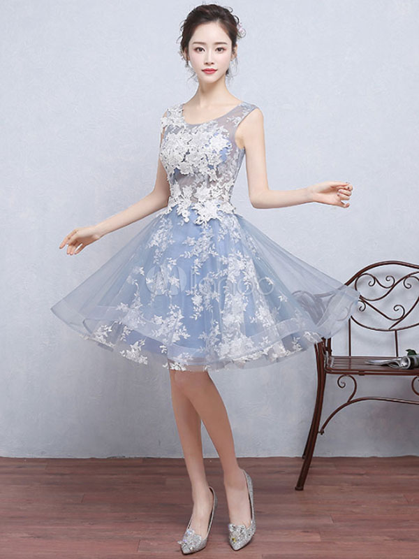 Buy Baby Blue Prom Dress Illusion Lace Applique Cocktail Dress Jewel Sleeveless A Line Knee Length Homecoming Dress for $118.79 in Milanoo store