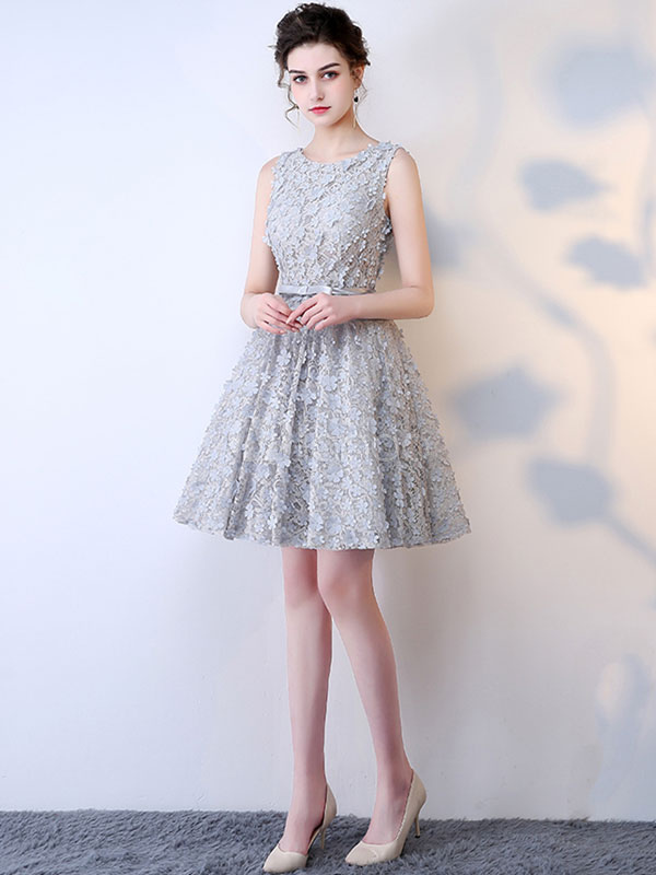 Buy Lace Cocktail Dress Light Grey 3D Flowers Homecoming Dress Jewel Sleeveless Bow Sash A Line Knee Length Prom Dress for $127.59 in Milanoo store
