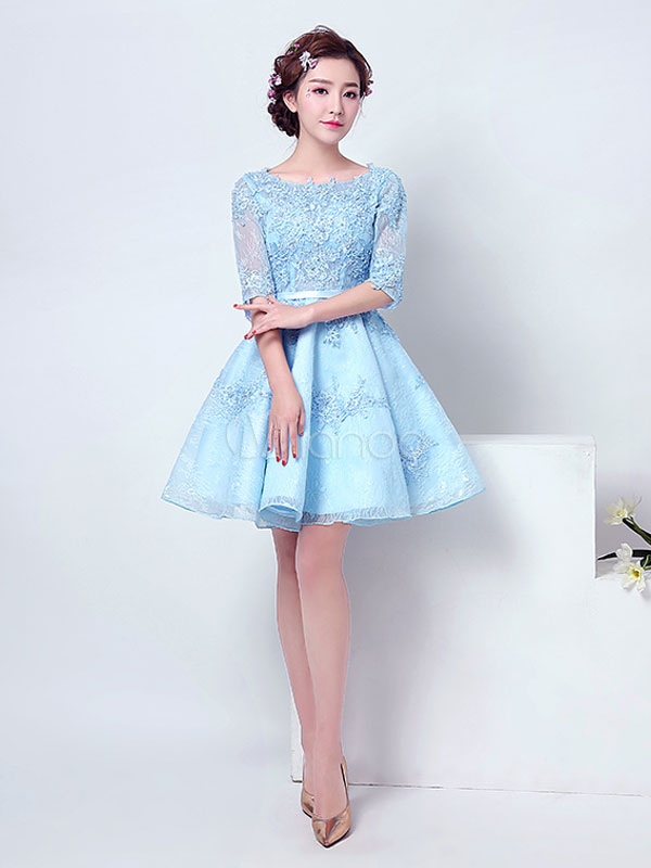 Buy Pastel Blue Homecoming Dress Lace Applique Beaded Prom Dress Jewel Half Sleeve A Line Knee Length Cocktail Dress With Sash for $127.59 in Milanoo store