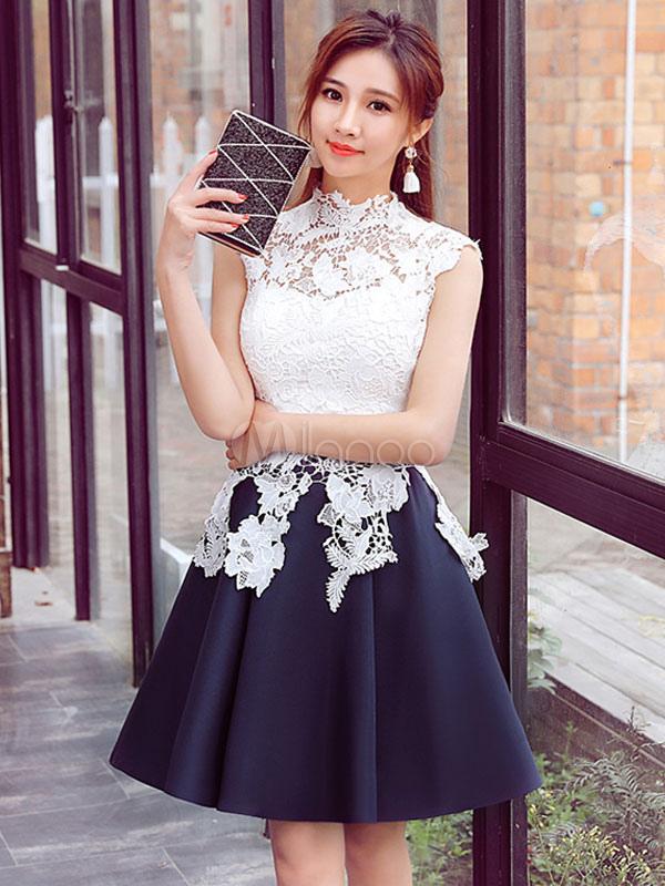 Weißes Abschlussball-Kleid-Spitze-Applique ein Linie Cocktailkleid ...