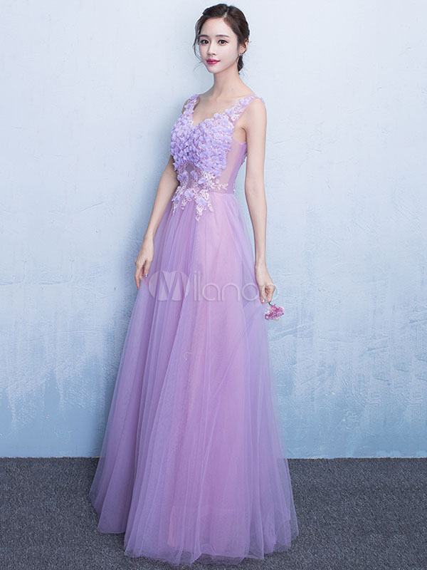 3227f1423b0 Lilac Prom Dress Lace Applique 3D Flower Occasion Dress Tulle V Neck  Sleeveless A Line Floor ...