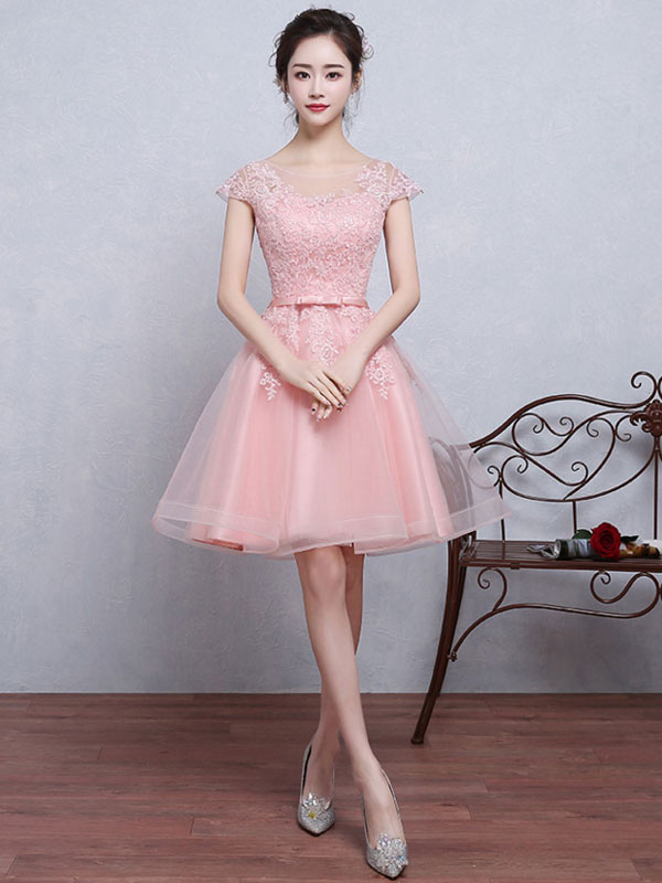 Buy Tulle Homecoming Dress Illusion Lace Applique Prom Dress Soft Pink Jewel Short Sleeve Bow Sash Knee Length A Line Graduation Dress for $118.79 in Milanoo store