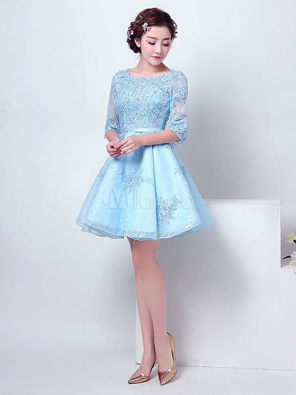 Pastel Blue Homecoming Dress Lace Applique Beaded Prom Dress Jewel