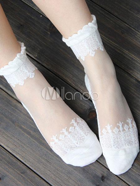 Buy Sweet Lolita Socks Baroque Flowers Jacquard Lolita White Socks for $7.19 in Milanoo store