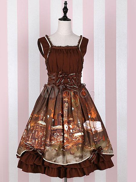 Buy Classic Lolita Dress Steam Castle JSK Ruffles Bowknot Deep Brown Lolita Jumper Skirt for $37.71 in Milanoo store