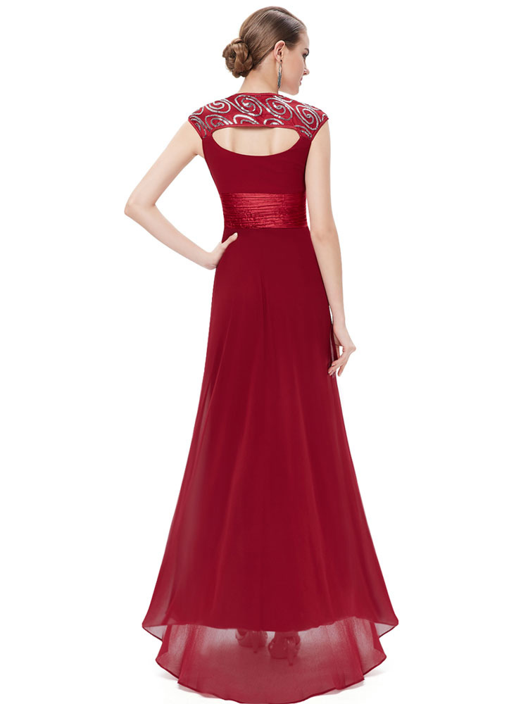 ... Red Bridesmaid Dress Chiffon Long Prom Dresses 2019 Queen Anne Neckline  Sequin Ruched Sleeveless Occasion Dress ... 1200e8a6a1136
