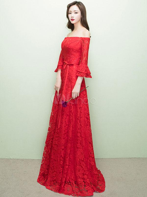 Red Prom Kleider 2018 lange aus der Schulter prom Kleid Spitze ...