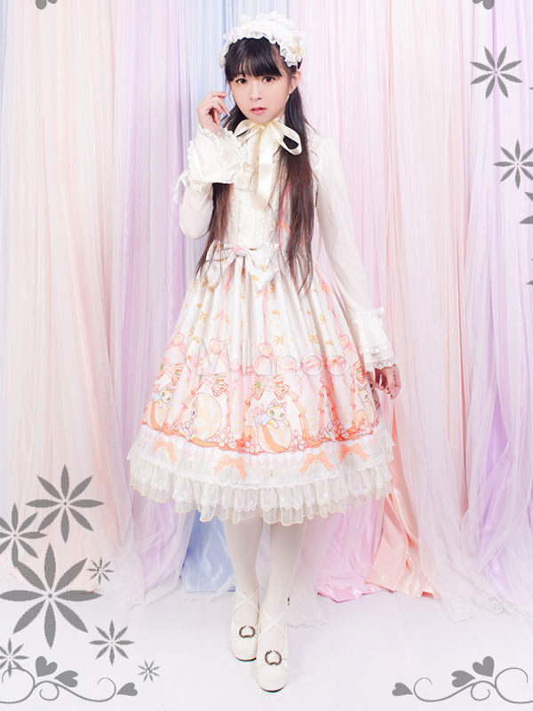 Buy Sweet Lolita Dress Cute Kitten JSK Chiffon Lace Trim Ruffles Lolita Jumper Skirt for $171.99 in Milanoo store
