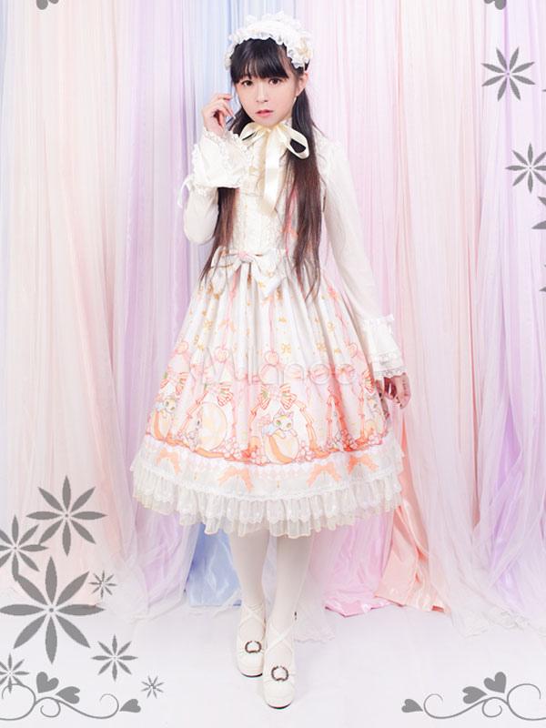 Buy Sweet Lolita Dress Cute Kitten JSK Chiffon Lace Trim Ruffles Lolita Jumper Skirt for $163.39 in Milanoo store