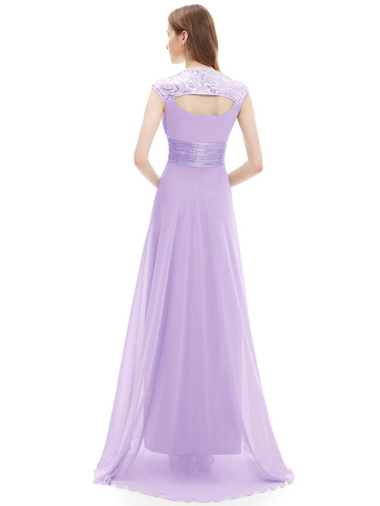 Vestido de Dama de Honor Largo con escote Queen Anne Con cola Sin ...