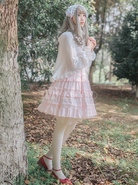 Buy Sweet Lolita Dress JSK Cotton Ruffles Square Neck Princess Lolita Jumper Skirt for $53.99 in Milanoo store