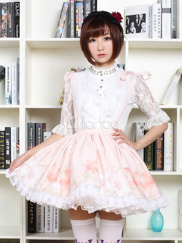 Buy Chinese Style Lolita Dress Lily Butterfly SK Chiffon Lace Trim Ruffles Pleated Peach Lolita Skirt for $55.99 in Milanoo store